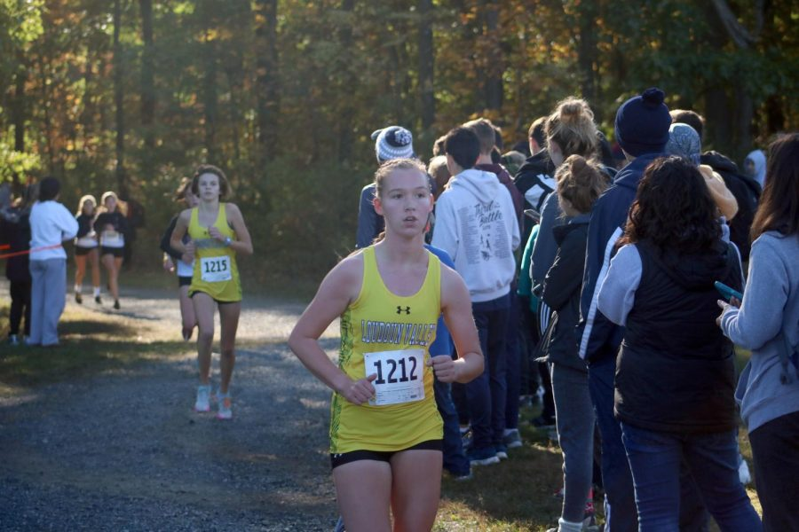 Sophomore+Amelia+Abbe%2C+runs+in+the+JV+underclassmen+girls+race+at+Third+Battle%2C+hosted+by+Millbrook+High+School.