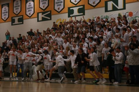 The Loudoun Valley student section, the Jungle, goes wild for Copper Thunell