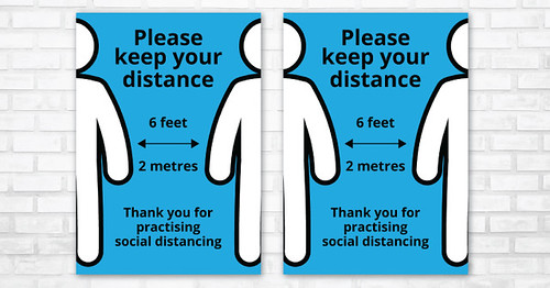 """Please Keep Your Distance - Social Distancing Poster"" by CartridgePeopleUK is licensed under CC BY 2.0"
