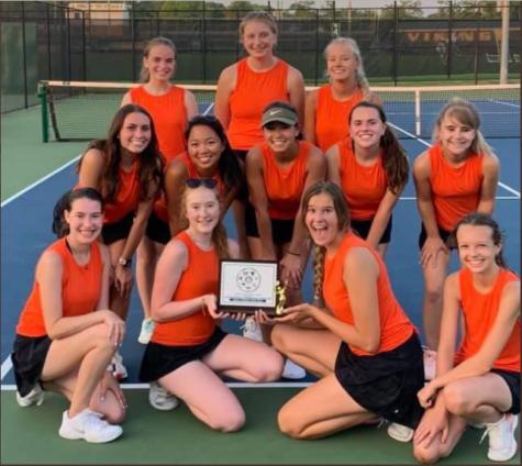 Valley Girls Tennis team hoist District Trophy after defeating Loudoun County 5-3.