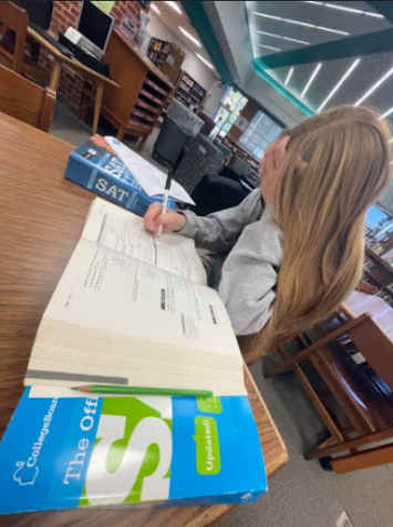 Student studies for SAT in Library